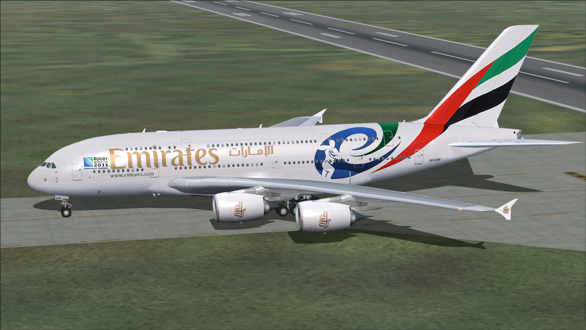 fs-freeware net - FSX Airbus A380-841 Emirates Rugby World